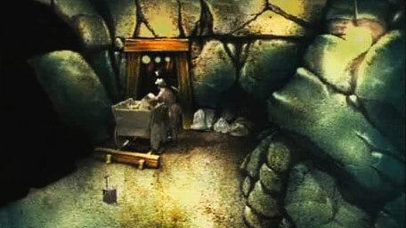 The first variant of the Mine, based on a handpainted scene by David Rowe, as shown on Series 2 of Knightmare (1988).