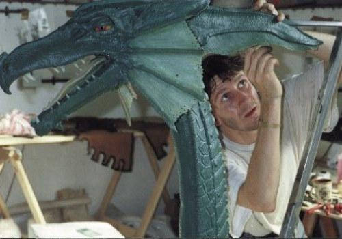 Mark Cordory painting the large cast of Smirkenorff the Dragon.