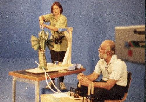 Knightmare's assistant producer, Claire Wittenbury, operates the small cast of Smirkenorff, while Clifford Norgate provides the dragon's voice.