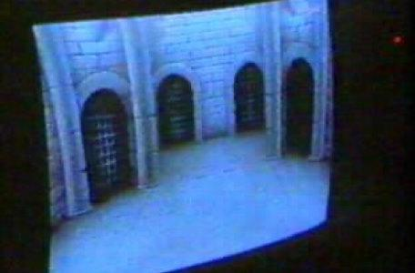 View from the edit suite as portcullises appear over the doors in the dungeon room. Behind the scenes on Knightmare.