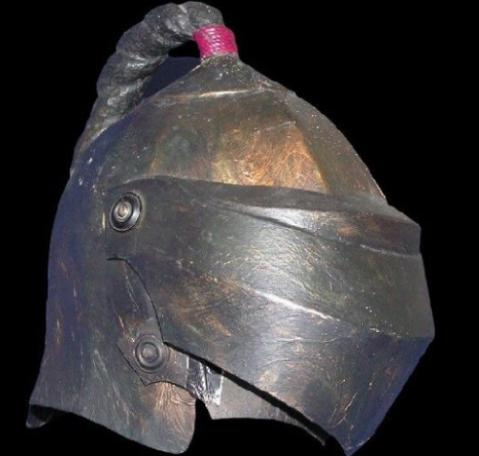 Front-right view of the new Helmet of Justice from Knightmare Series 7-8.