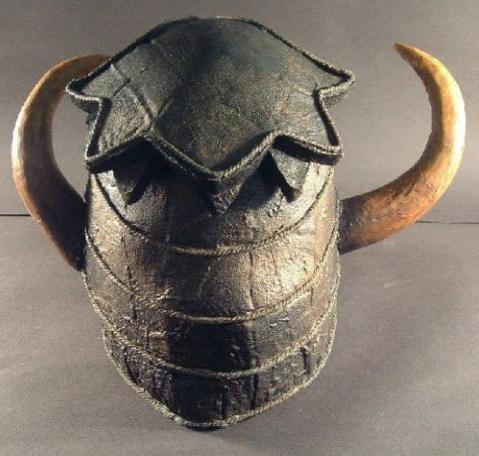 Rear view of the original Helmet of Justice from Knightmare.