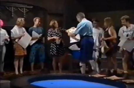 The Knightmare crew receive certificates after filming ends.