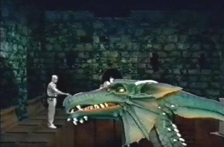 Outtakes and additional footage: crew member appears to pet Smirkneorff the Dragon.