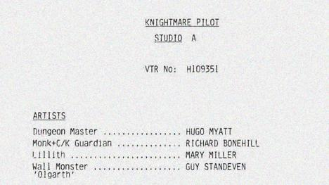 An excerpt from the script of the pilot of Knightmare.