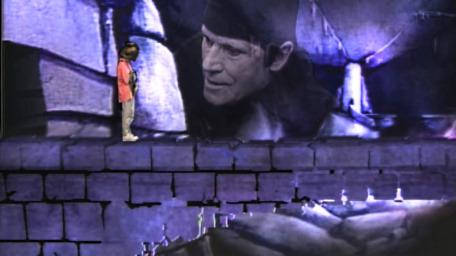 The collapsing bridge, based on a handpainted scene by David Rowe, as shown on Series 4 of Knightmare (1990).