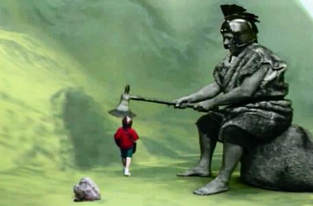 Knightmare Series 7 Team 3. Alex strides towards the cave entrance as a troll raises its axe.
