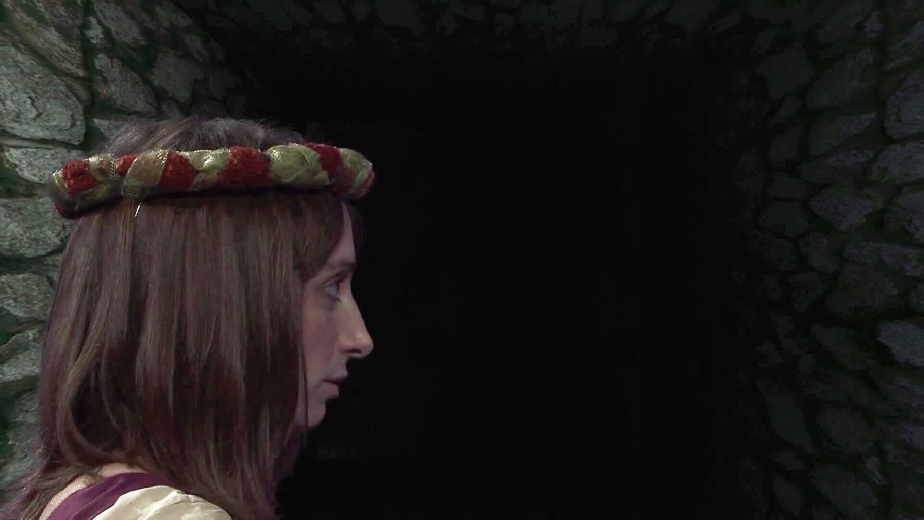 Veruca (Isy Suttie) in the closing moments of the Geek Week episode of Knightmare (2013).