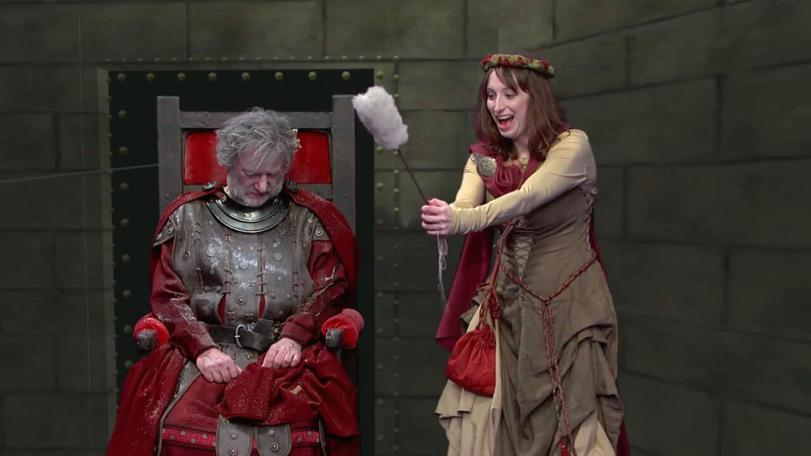Veruca (Isy Suttie) prepares to cast a spell in the Geek Week episode of Knightmare (2013).