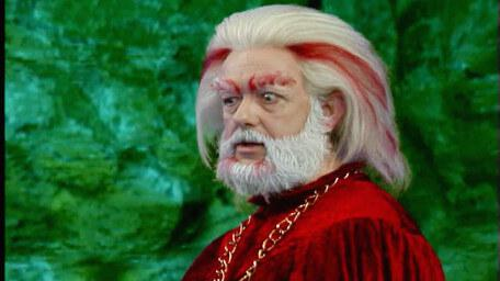 Hordriss the Confuser, played by Clifford Norgate, as seen in Series 8 of Knightmare (1994).