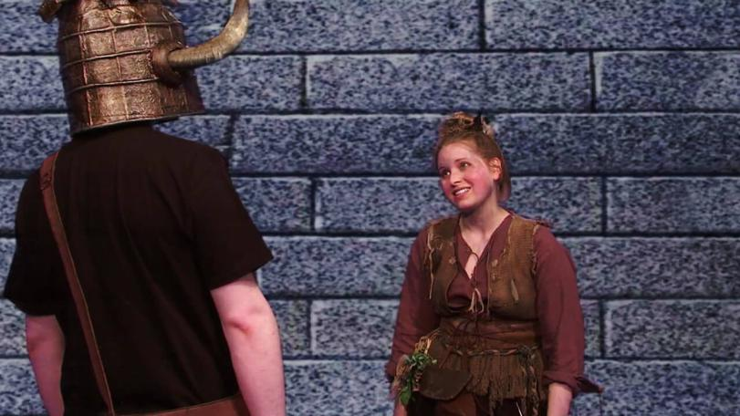Theodora Snitch (Jessie Cave) makes a proposition to dungeoneer Stuart Ashen in the Geek Week episode of Knightmare (2013).