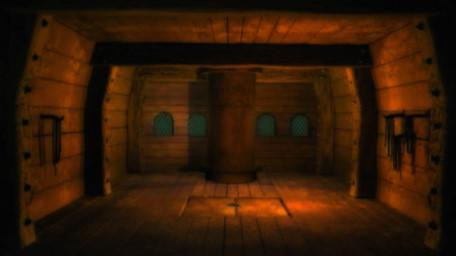 A cabin onboard the Golden Galleon, as seen in Series 8 of Knightmare (1994).