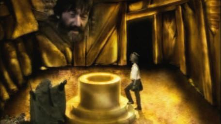 The Cauldron Room or Crone Room, based on a handpainted scene by David Rowe, as shown on Series 2 of Knightmare (1988).