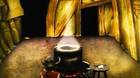 The Cauldron Room or Crone Room, based on a handpainted scene by David Rowe, as shown on Series 3 of Knightmare (1989).