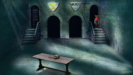 A variant of the Level 3 clue room, based on a handpainted scene by David Rowe, as shown on Series 1 of Knightmare (1987).