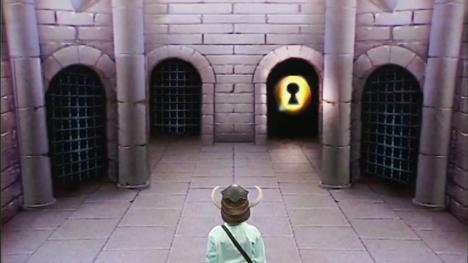The door option room, often the first room of the dungeon in Series 1 of Knightmare.