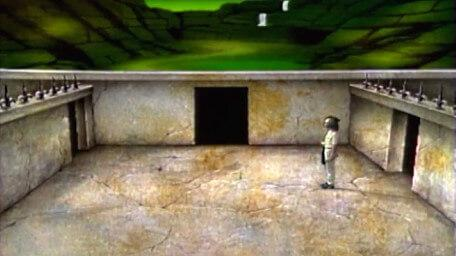 A variant of the Spider Room, now with the Vale of Banburn in the horizon. Based on a handpainted scene by David Rowe, as shown on Series 3 of Knightmare (1989).