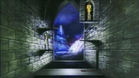 The Transporter Pad challenge, based on a handpainted scene by David Rowe, as shown on Series 4 of Knightmare (1990).