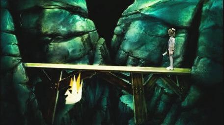 The Vale of Mogdred, based on a handpainted scene by David Rowe, as shown on Series 2 of Knightmare (1988).