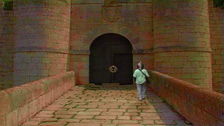 A castle entrance, as seen in Series 7 of Knightmare (1993).
