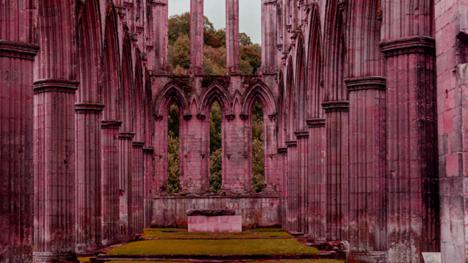 Rievaulx Abbey in North Yorskhire, with amended hue to recreate the scene in Knightmare.