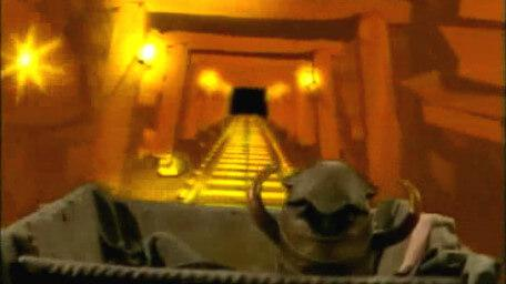 The minecart tunnel, as seen in Series 3 of Knightmare (1989).