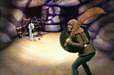 Knightmare Series 3 Team 11. A hobgoblin charges into the Cavernwight Chamber.