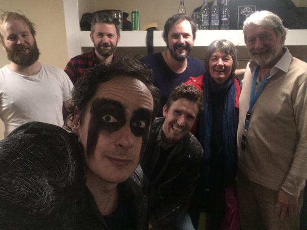 Hugo Myatt with the Knightmare Live cast at the Sci-Fi Weekender 9 in Wales, 2018.