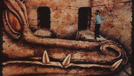 A visual mockup of a dungeoneer in the dragon room, from Zzap Magazine's feature on Knightmare.