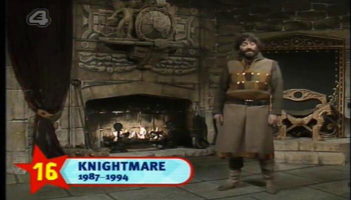 Channel 4's 100 Greatest Kid's TV Shows (2001). Shot of Treguard (Hugo Myatt) from the first episode of Knightmare as the show lands 16th place in the list.