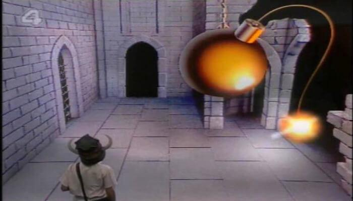 Channel 4's 100 Greatest Kid's TV Shows (2001). Footage from the first episode of Knightmare as the dungeoneer reaches a bomb room.