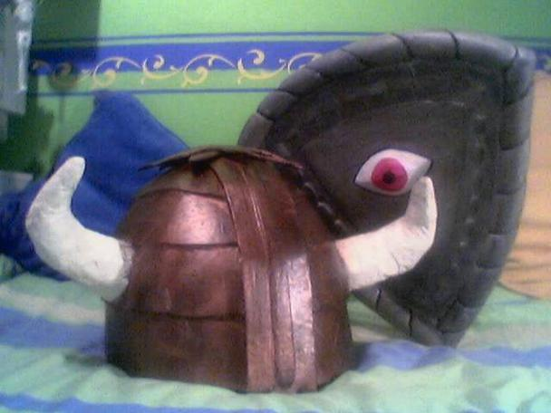 The Helmet of Justice and Eye Shield made for Halloween by a Knightmare fan.