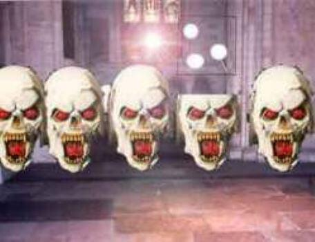 A room of skulls in the second season of the Knightmare RPG.