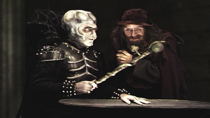 Series 7 (1993). Lord Fear plots with Sylvester Hands over a fake Wand of Majesty.