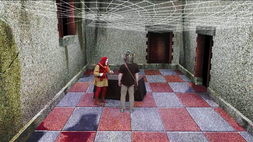 Dungeoneer meets Sylvester the Jester in the original Level 1 Clue Room, remastered for the Geek Week episode of Knightmare (2013).