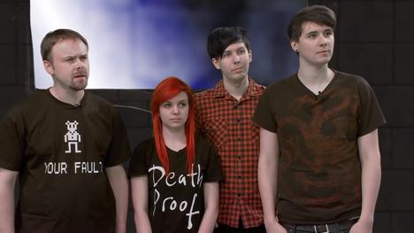 Contestants for Knightmare Geek Week 2013 episode: Stuart Ashen, Emma Blackery, Phil Lester, Dan Howell