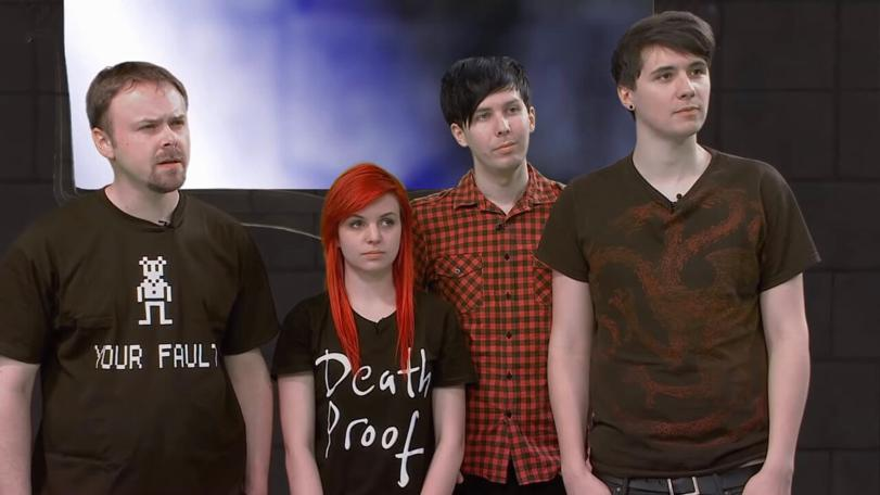 An inline image of the team for the Geek Week episode of Knightmare: Stuart Ashen, Emma Blackery, Phil Lester and Dan Howell.