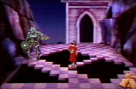 A knight crosses a challenging diagonal pathway in Le Chevalier du Labyrinthe.