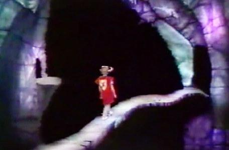 A knight crosses the narrow ledge in Le Chevalier du Labyrinthe.