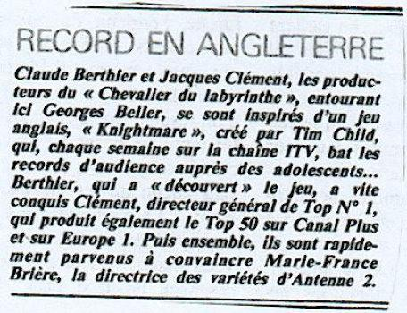 A press release snippet of Le Chevalier du Labyrinthe.