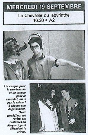 A press snippet from the TV guide advertising the first episode of Le Chevalier du Labyrinthe.