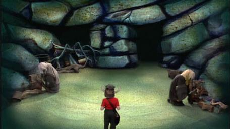 The Cavernwight Chamber, based on a handpainted scene by David Rowe, as shown on Series 1 of Knightmare (1987).