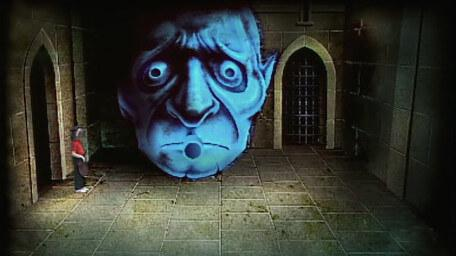 The Gargoyle Room, based on a handpainted scene by David Rowe, as shown on Series 1 of Knightmare (1987).