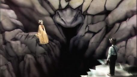 Lillith's Domain, based on a handpainted scene by David Rowe, as shown on Series 1 of Knightmare (1987).