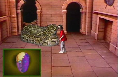 Knightmare Series 1 Team 2. Maeve twists and turns to avoid a snake.