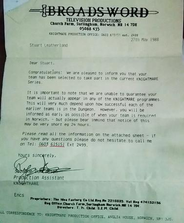 Knightmare Series 2 Team 8. Stuart's acceptance letter from Broadsword in 1988.
