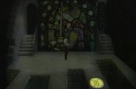 Knightmare Series 2 Team 10. The team cast a DARK spell to show the way from the stained glass window.
