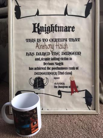 Knightmare Series 2 Team 11. Anthony's certificate plus a Knightmare-themed mug.