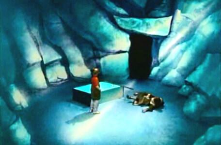 Knightmare Series 2 Team 12. Steven knocks over Cedric as he lands in Level 2.