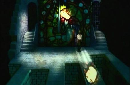 Knightmare Series 2 Team 4. Mark's team use magic to light the path from the stained glass room.